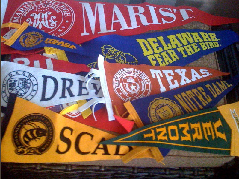 some pennants of colleges my clients attend